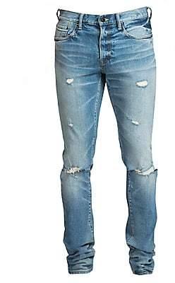 PRPS Men's Windsor Skinny-Fit Stretch Light Wash Knee Rip Jeans