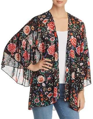 Kim & Cami Floral-Print Flutter Kimono