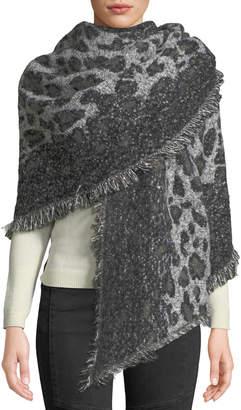 Neiman Marcus Leopard-Print Fringe-Trim Blanket Scarf