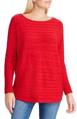 Chaps Petite Cable-Knit Cotton-Blend Sweater