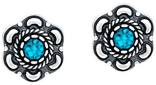 American West Kingman Spiderweb Turquoise Earrings by American West
