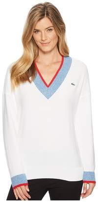 Lacoste V-Neck Trim Golf Sweater Women's Sweater