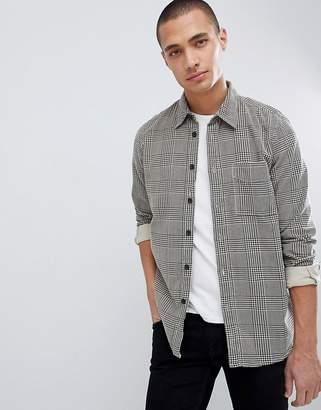 Nudie Jeans Sten organic cotton herringbone check shirt in black/white