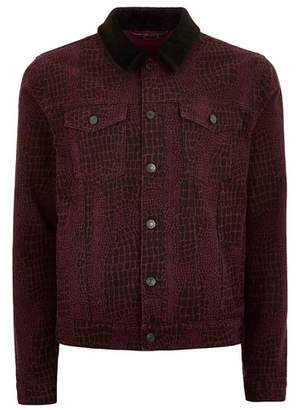 Topman Mens Faux Fur Collar Purple Printed Jacket