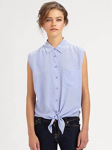 Equipment Diem Silk Tie-Front Shirt