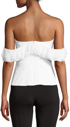 Cushnie Off-the-Shoulder Top with Layered Chiffon Ruffle