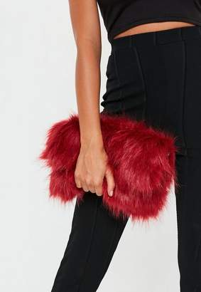 Missguided Red Faux Fur Oversized Clutch Bag