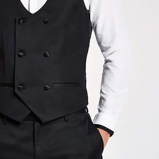 River Island Black double-breasted vest