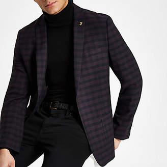 River Island Farah burgundy check skinny fit blazer