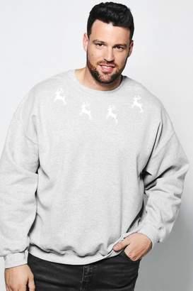 boohoo Big And Tall Christmas Reindeer Sweater