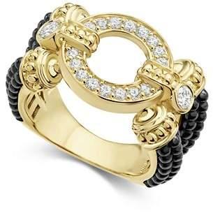 Lagos Circle Game Black Caviar Ceramic Split Ring with Diamonds and 18K Gold