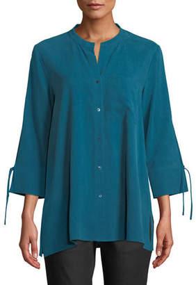 Eileen Fisher Fuji Silk 3/4-Sleeve Blouse, Plus Size