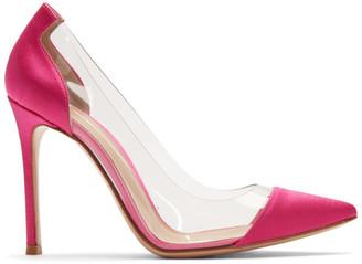Gianvito Rossi Pink Satin Plexi Heels