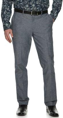 Apt. 9 Men's Slim-Fit Linen-Blend Chambray Stretch Flat-Front Suit Pants