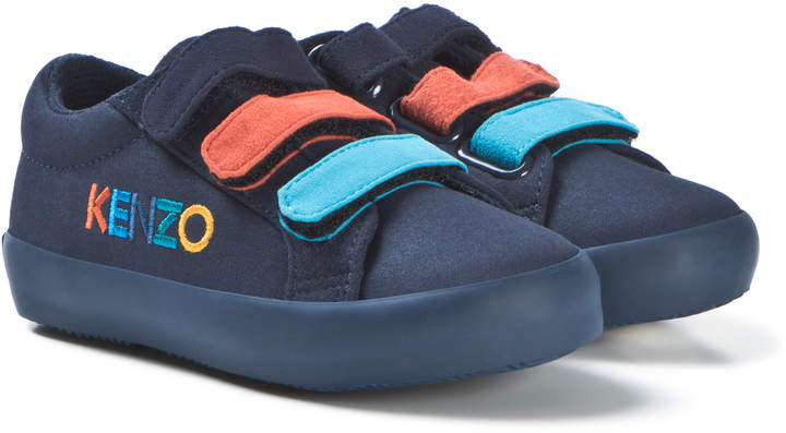 Kenzo Kids Navy Embroidered Canvas Velcro Trainers
