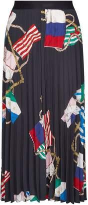 Sandro Scarf Print Midi Skirt