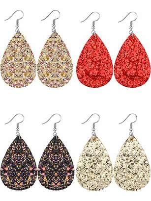 Tatuo 4 Pairs Teardrop Earrings Glitter Dangle Drop Earring Fake Leather Bohemia Earrings for Women and Girls