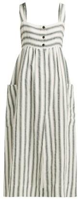 Three Graces London - Elinor Striped Linen Blend Dress - Womens - Green Stripe