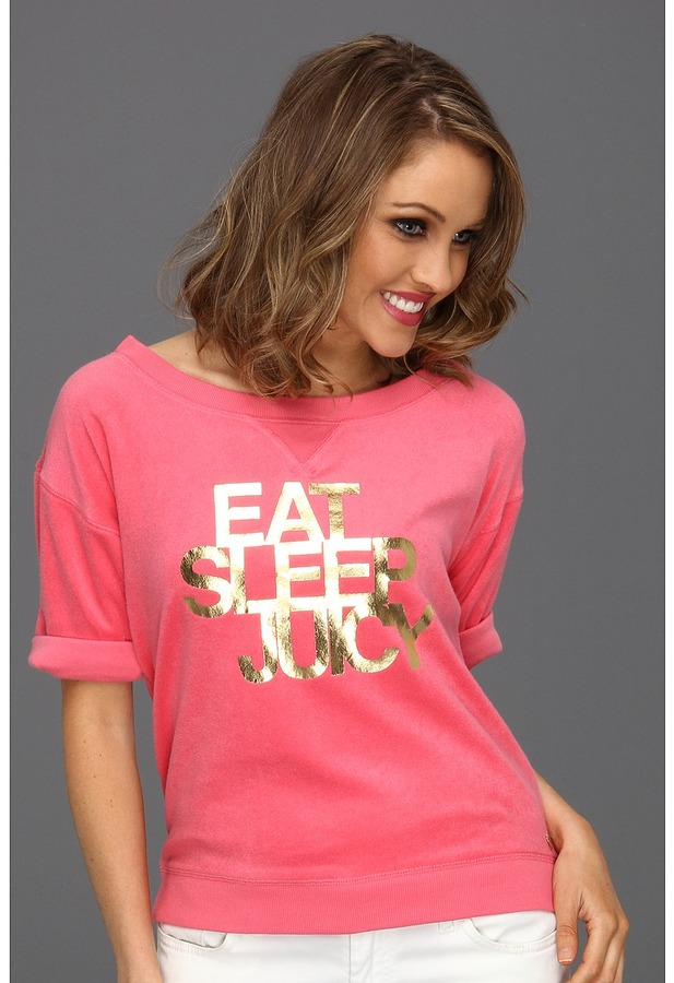 Juicy Couture Eat, Sleep, Juicy Cozy Terry Pullover (Bombshell) - Apparel