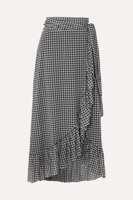 Ganni Ruffled Gingham Mesh Wrap Skirt - Black