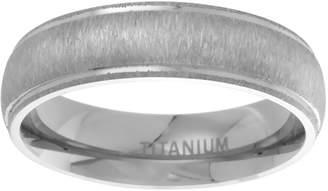 Sabrina Silver 6mm Dome Titanium Wedding Band Matte Center Raised Edge Ring Comfort Fit, size 8.5