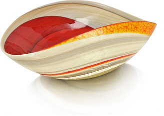 Murano Yalos Cartoccio - Medium Red and Ivory Marbled Glass Folded Bowl
