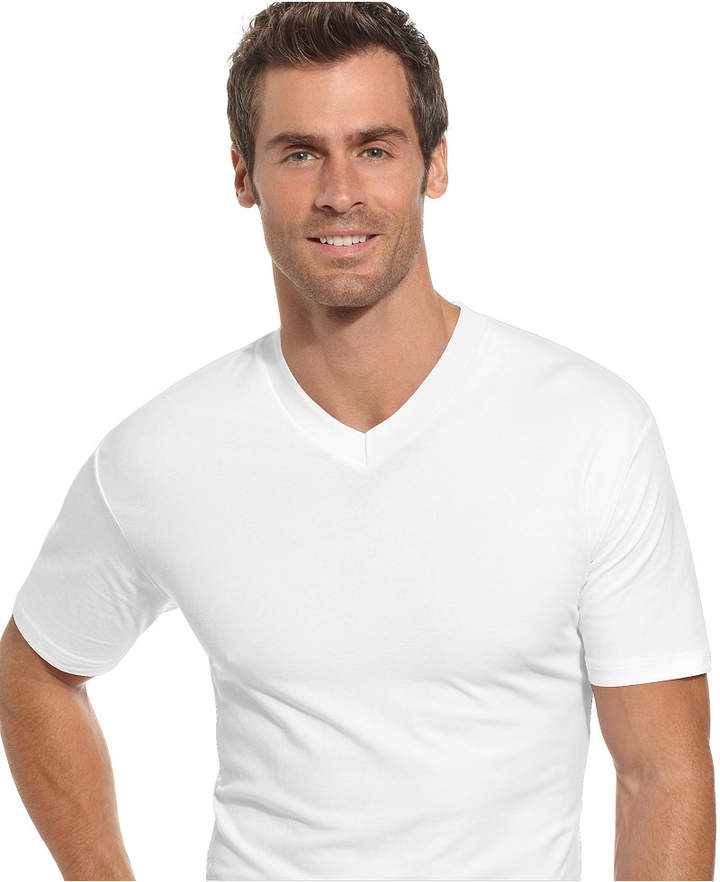 Alfani Men's Underwear, Tagless Cotton Spandex Slim Fit 2 Pack V Neck Undershirts