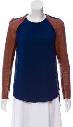 3.1 Phillip Lim Leather-Accented Silk Top