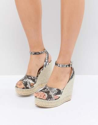 Glamorous Snake Print Studded Wedge Sandals