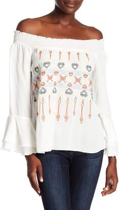ALLISON NEW YORK Off-the-Shoulder Embroidered Smocked Blouse