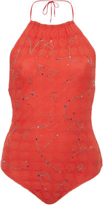 Missoni Mare Embroidered Halter Neck Onepiece Swimsuit