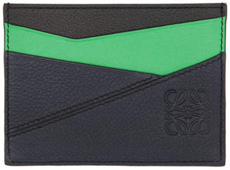 Loewe Green and Blue Puzzle Plain Card Holder
