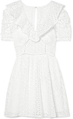 Self-Portrait Broderie Anglaise Cotton Mini Dress - White