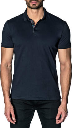 Jared Lang Semi-Fitted Floral-Revers Pique Polo Shirt