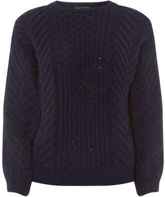 Dorothy Perkins Womens Navy Chunky Cable-Knitted Jumper