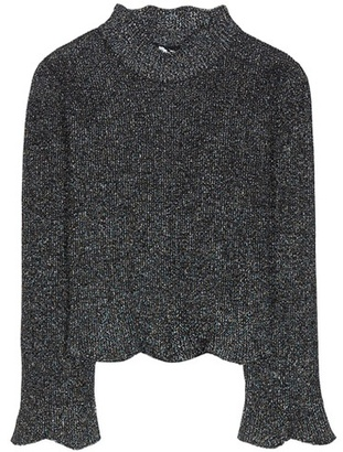 Balenciaga Knitted metallic cropped sweater