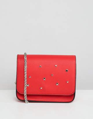 Pull&Bear Red Star Stud Cross Body In Red