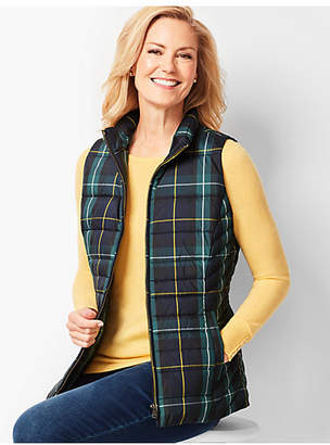 Talbots Plaid Down Puffer Vest