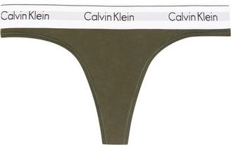 Calvin Klein Underwear - Modern Cotton Stretch Cotton-blend Thong - Army green $25 thestylecure.com