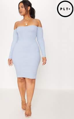 PrettyLittleThing Plus Dusky Blue Bardot Ribbed Long Sleeve Midi Dress