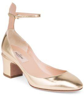 Valentino Metallic Leather Block Heel Pumps $875 thestylecure.com