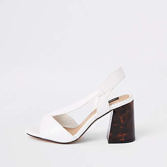 River Island White wide fit cross strap block heel sandals