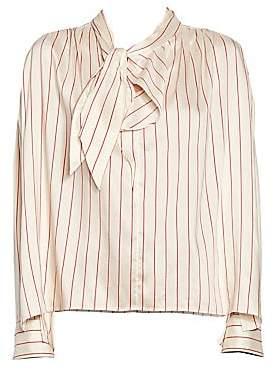 091d81500 Isabel Marant Women's Ogi Silk Tie Neck Striped Blouse