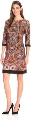 Sandra Darren Women's Elbow Sleeve Printed Jersey Sheath Dress