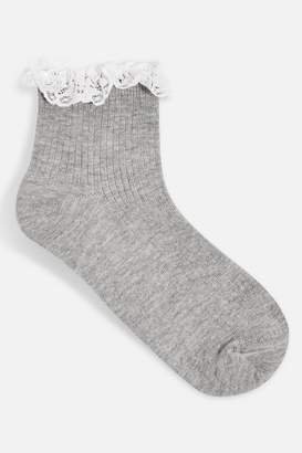 Topshop Lace Trim Ribbed Ankle Socks