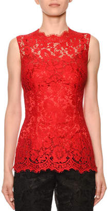 Dolce & Gabbana Sleeveless Cordonetto Lace Illusion Top