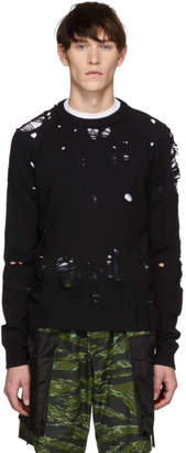 DSQUARED2 Black Destroyed Wool Sweater