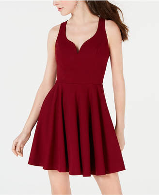 B. Darlin Juniors' Open-Back Fit & Flare Dress