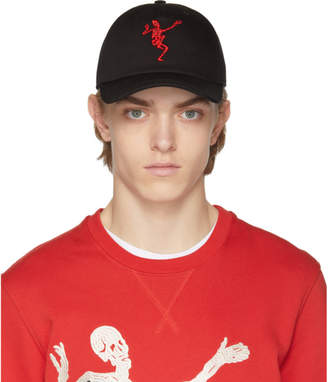 Alexander McQueen Black and Red Dancing Skeleton Cap