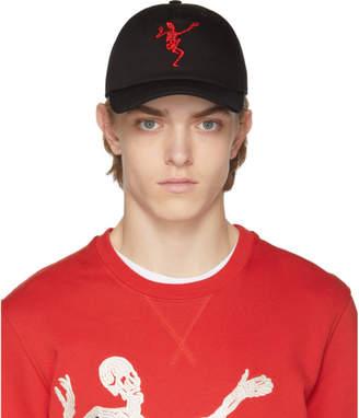 Alexander McQueen Black and Red Dancing Skeleton Cap